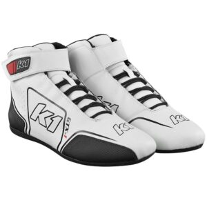 K1 GTX-1 Nomex Auto Racing Shoe angle pair white