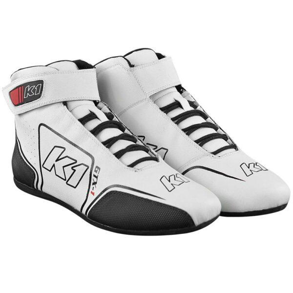 K1 GTX-1 Nomex Auto Racing Shoe angle pair white