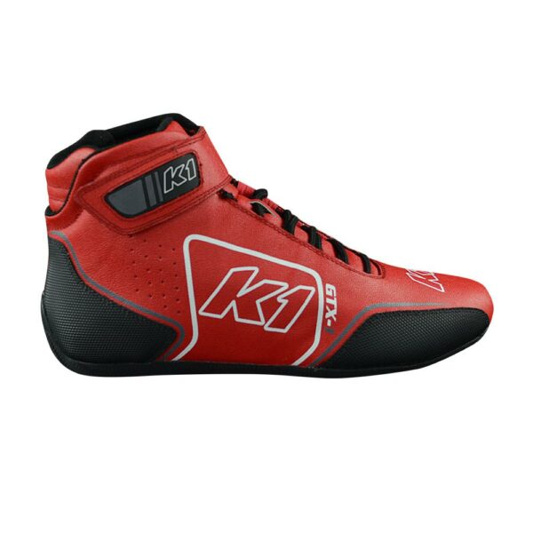 K1 GTX-1 Nomex Auto Racing Shoe side angle red