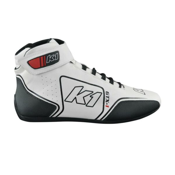 K1 GTX-1 Nomex Auto Racing Shoe side angle white